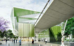 Perspective de la gare CEA Saint-Aubin (juillet 2017)