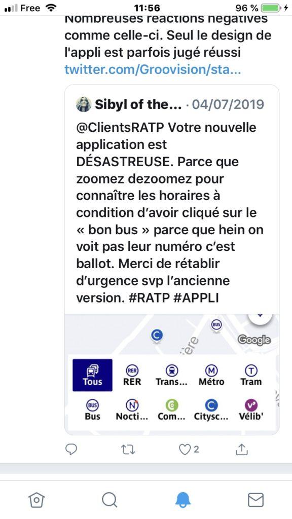 twitter appli RATP